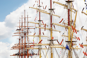 Masts of ships and competitors