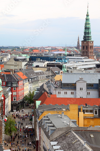 Beautiful view of street in Copenhagen from Rundetorn Tower