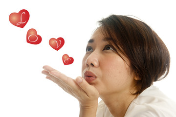 asian pretty woman sending kisses
