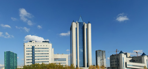 HIGH-TECH STYLE BUILDING. Panorama.  Gazprom