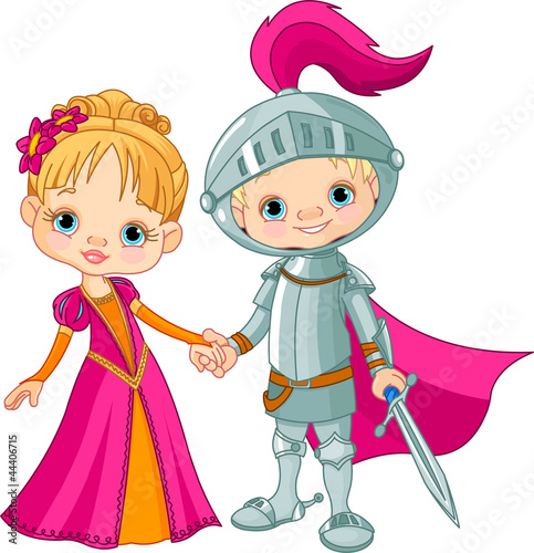 Tuinposter Ridders Medieval Boy and Girl