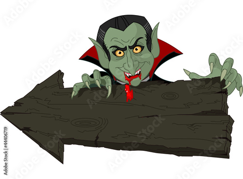 Dracula over Halloween arrow