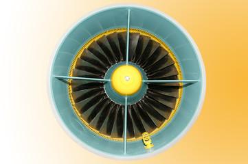 Closeup of a jet turbine
