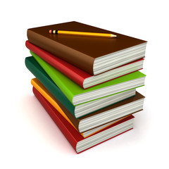 3d render of stack of books with pencil on top