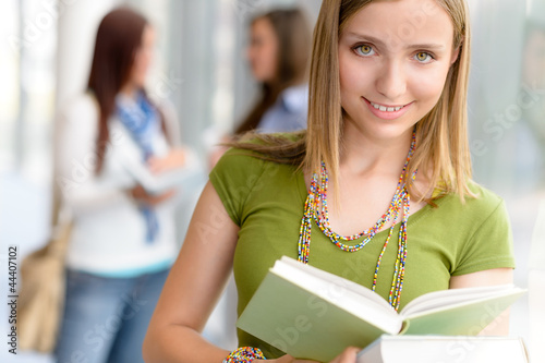 High school teenage student female read book