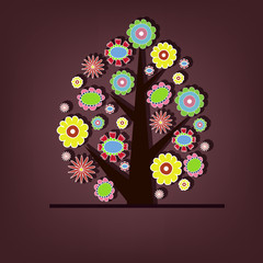 Beautiful vector tree with flowers