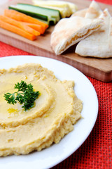 Vegetable sticks and chickpea hummus dip