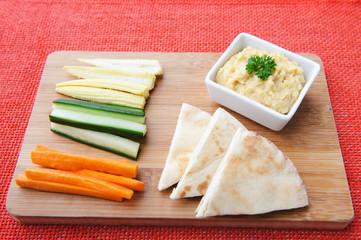 Vegetable sticks and hummus dip