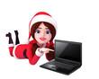 3d art illustration of santa girl sitting with laptop
