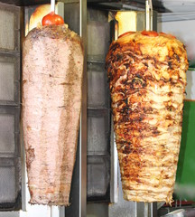 Turkish doner kebab. Beef and chicken.