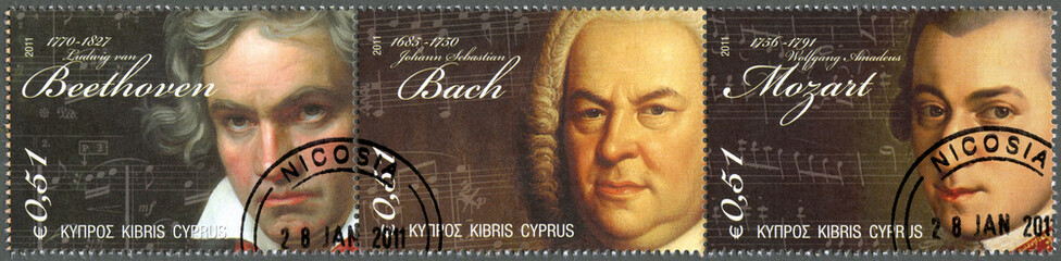 CYPRUS - 2011 : shows Beethoven, Bach, Mozart