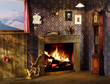 Leinwanddruck Bild - romantic fire place, interiors