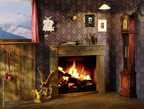 Leinwanddruck Bild romantic fire place, interiors