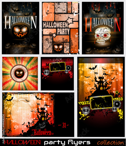 Halloween Horror Party flyers set with a lot of themed elements