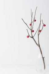 Elegant christmas display branch with red bauble