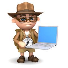 3d Adventurer uses his laptop