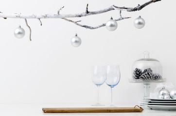 Silver xmas decorations