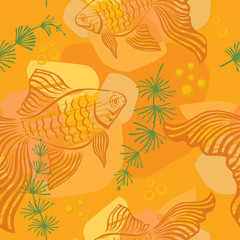 Pattern with gold fish
