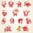 Christmas Santa Claus vector vintage illustrations