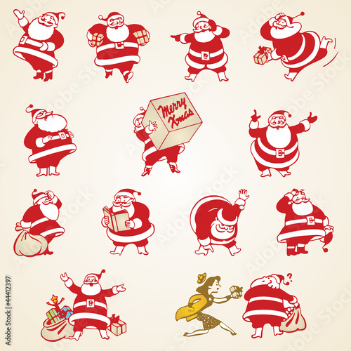 Christmas Santa Claus vector vintage illustrations