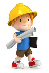 3d render of a little engineer/architect