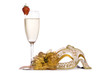 Masquerade mask with champagne