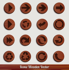dark wooden icon set with different signs