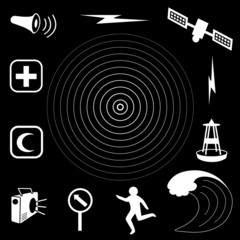 Tsunami Icons. earthquake, disaster, ocean wave, satellite siren