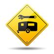 Señal amarilla reparacion de caravanas