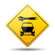Señal amarilla reparacion de coches