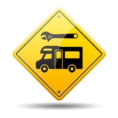 Señal amarilla reparacion de autocaravanas