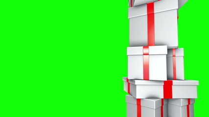 Pile of Gifts White (Loop on Green Screen)
