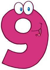 Number Nine Cartoon Mascot Character