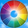 roue chromatique sur fond de ciel bleu