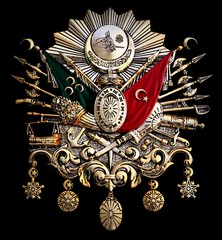 Turkish old Ottoman Empire emblem on black background.