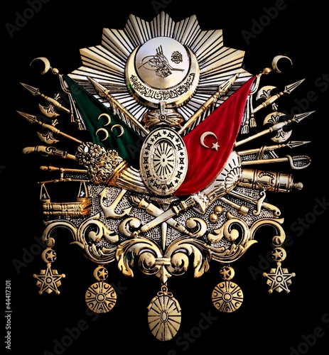 Foto  Turkish old Ottoman Empire emblem on black background Ottoman Empire Symbol