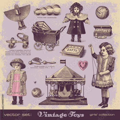 vector set: vintage toys 2 - girls' collection