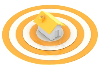 A house in the center of a target