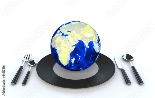 World globe on dish 3d illustration
