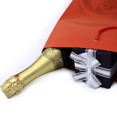 gift, champagne in the red box on a white background