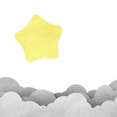 Grunge paper texture star on white background