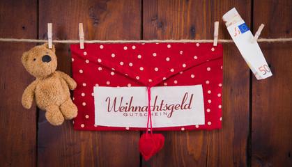 Weihnachtsgeld - rustikal mit Teddybär
