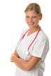 Junge Ärztin mit verschränkten Armen