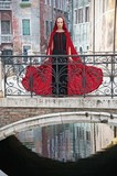 Beautiful woman in red cloak on a bridge poster