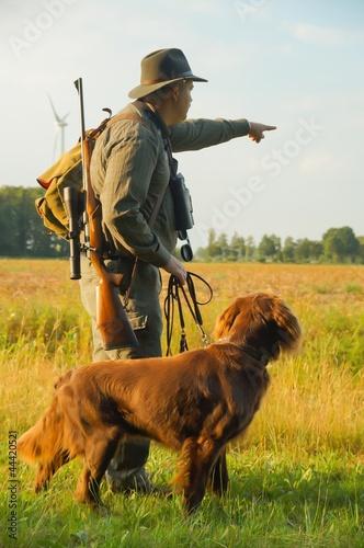 Fotobehang Jacht Jäger mit Jagthund