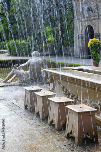 Tricky hidden fountains in a dinner table at Hellbrunn Palace