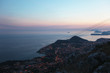 Coastline of Dubrovnik from above during the twilight