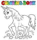 Coloring book unicorn theme 1