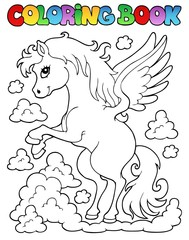 Coloring book pegasus theme 1