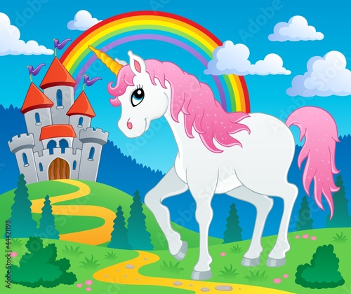 Tuinposter Pony Fairy tale unicorn theme image 2